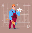 cartoon builder wearing uniform and helmet vector image vector image