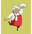 cartoon happy chef dancing bears dish vector image vector image