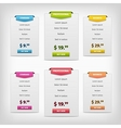 colorful pricing plans conception vector image vector image