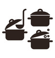 cooking pot set vector image vector image