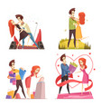 couple in love 2x2 design concept vector image vector image