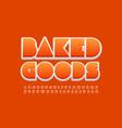 creative sign baked goods orange alphabet vector image