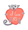 Cute cartoon ginger cat with heart and declaration vector image vector image