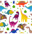 cute colored dinosaurus seamless pattern vector image