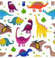cute colored dinosaurus seamless pattern vector image vector image