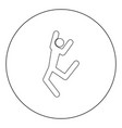 dancer stick black icon in circle isolated vector image