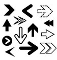 different black arrows icons set abstract vector image vector image