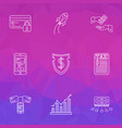 economy icons line style set with graph financial vector image