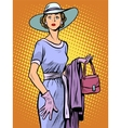 Elegant lady in beautiful dress and hat vector image vector image