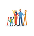 family skiing mother father parents and child vector image vector image
