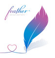 feather draws heart light background vector image