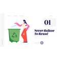 female character throwing trash into litter bin vector image vector image