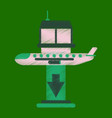 flat icon in shading style airplane lands airport vector image vector image