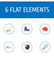 flat icons rocket puck ice boot and other vector image
