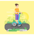 flat style young man riding an two-wheeled vector image