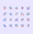 forest berries colored flat line icons - blueberry vector image
