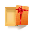 gift box with red ribbon flower and pattern vector image vector image