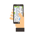 hand holding mobile phone with gps navigator vector image vector image