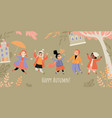 happy autumn banner with images cute children vector image