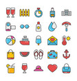 hotel and travel flat icons vector image