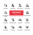 insurance concept - line design silhouette icons vector image vector image