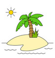 island with palm tree isolated vector image