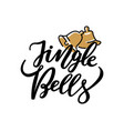 jingle bells lettering print two holiday campanes vector image vector image