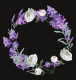 lavender and peony round frame template on vector image vector image