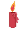 lighted red christmas candle simple on a white vector image vector image