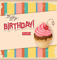 line vintage birthday card with realistic cherry vector image vector image