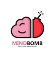 Logo with a combination of brain and bomb vector image vector image