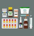 medicines sterile syringe and jar of ointment set vector image vector image