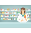 Pharmacist woman with medicine in pharmacy