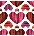 pink red and purple hearts with stripes vector image