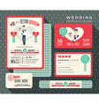 retro cartoon wedding invitation set Template vector image