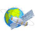space station flying orbital flight around earth vector image