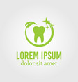 tooth around which green leaf logo template vector image