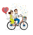 two young lovers riding a tandem bicycle vector image