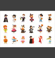 ute little kids in colorful halloween costumes set vector image