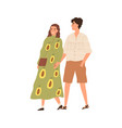 young couple walking and holding hands together vector image vector image