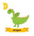 Dragon D letter Cute children animal alphabet in vector image