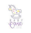 baby care logo design emblem with rocking horse vector image vector image