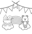 baby carriage newborn teddy in black and white vector image vector image