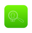 businessman under magnifying glass icon green vector image vector image