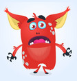 cartoon angry red gremlin or troll monster vector image vector image