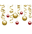 christmas baubles and golden serpentine vector image vector image
