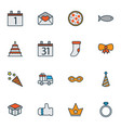 christmas icons colored line set with festive mask vector image