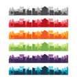cities silhouette landscape color set vector image