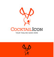 cocktail swords piercing an olive logo vector image