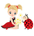 cute little girl with ladybug and flowers vector image